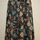 "Vintage Skirt Southwestern Print ""Links"" 10-12 M Turquoise Tan Black Brown"