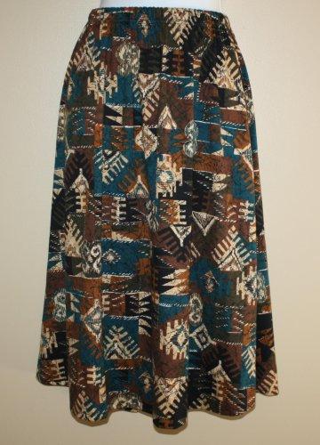 "Vintage Skirt Southwestern Print ""Links"" 10-12 M Turquoise Tan Black Brown"