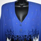 Vintage  Blue Cropped Jacket Pearl Beading R&M Richards 8 USA