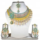 Gold Plated Stunning AD Pearl Jewelry Flower Styled Necklace Matching Earrings Set Turquoise Color
