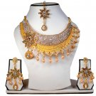 Gold Plated Stunning AD Pearl Jewelry Flower Styled Necklace Matching Earrings Set Gold Color
