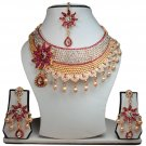 Gold Plated Stunning AD Pearl Jewelry Flower Styled Necklace Matching Earrings Set Magenta Color