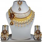 Gold Plated Stunning AD Pearl Jewelry Flower Styled Necklace Matching Earrings Set Coffee Color