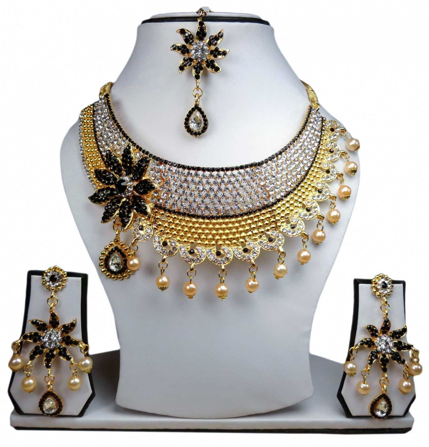 Gold Plated Stunning AD Pearl Jewelry Flower Styled Necklace Matching Earrings Set Black Color