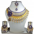 Gold Plated Stunning AD Pearl Jewelry Flower Styled Necklace Matching Earrings Set Blue Color