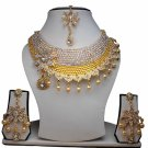 Gold Plated Stunning AD Pearl Jewelry Flower Styled Necklace Matching Earrings Set White Color