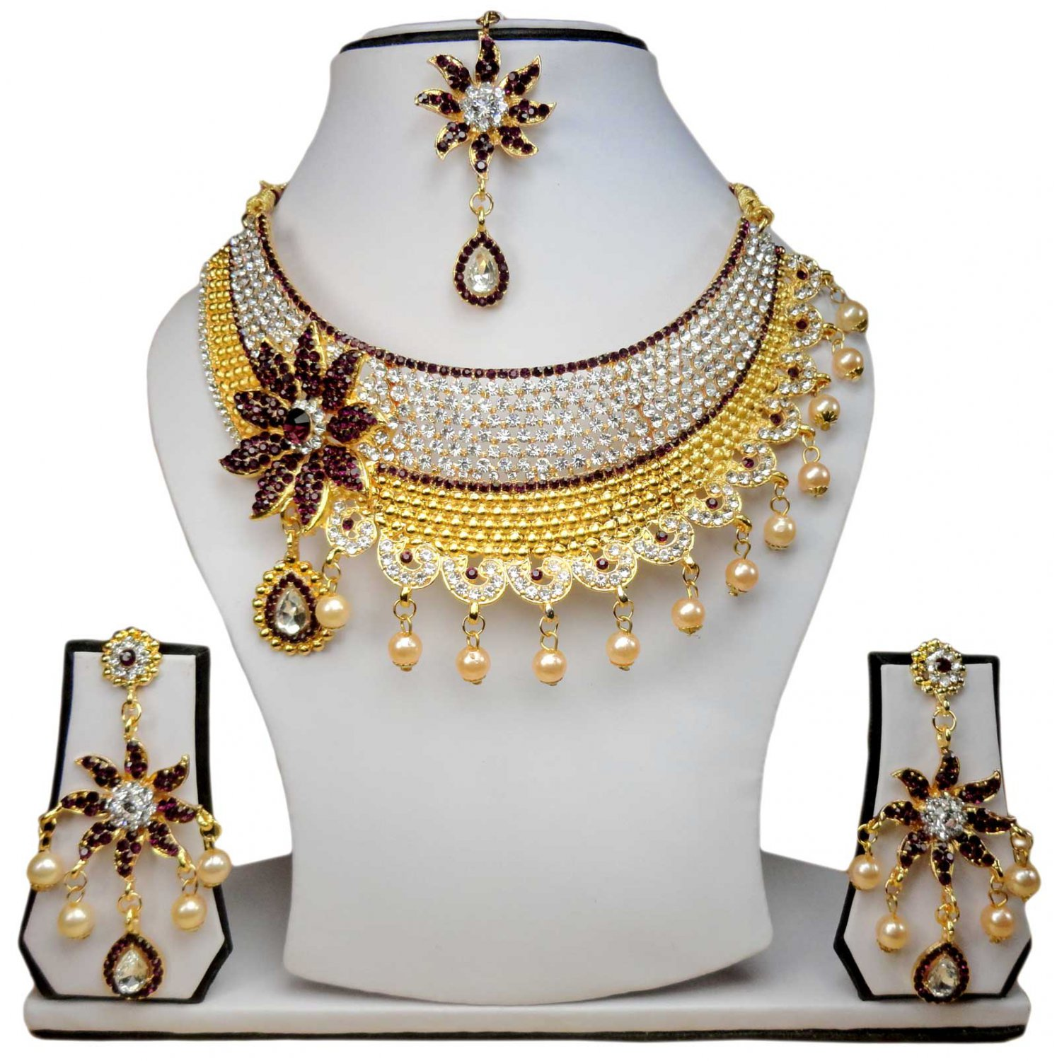 Gold Plated Stunning AD Pearl Jewelry Flower Styled Necklace Matching Earrings Set PurpleColor