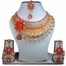 Gold Plated Stunning AD Pearl Jewelry Flower Styled Necklace Matching Earrings Set Red Color