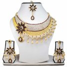Gold Plated Stunning AD Pearl Jewelry Flower Styled Necklace Matching Earrings Set maroon Color