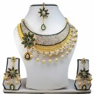Gold Plated Stunning AD Pearl Jewelry Flower Styled Necklace Matching Earrings Set Green Color