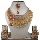 Gold Plated Stunning AD Pearl Jewelry Flower Styled Necklace Matching Earrings Set Pink Color