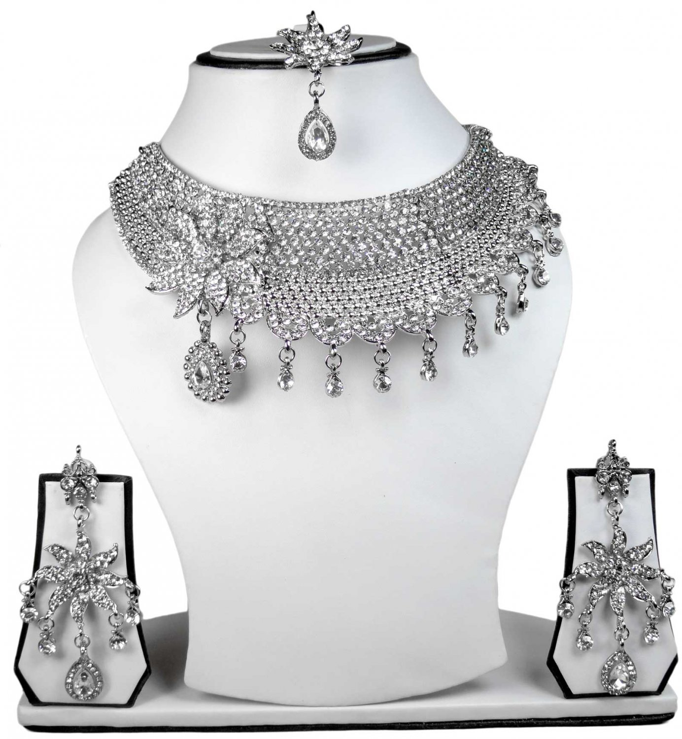 Silver Plated Stunning AD Pearl Jewelry Flower Styled Necklace Matching Earrings Set White Color