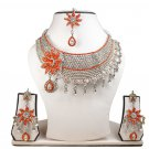 Silver Plated StunningAD Pearl Jewelry Flower Styled Necklace Matching Earrings Set red Color