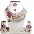 Silver Plated Stunning AD Pearl Jewelry Flower Styled Necklace Matching Earrings Set Magenta Color