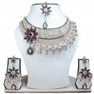 Silver Plated Stunning AD Pearl Jewelry Flower Styled Necklace Matching Earrings Set Purple Color