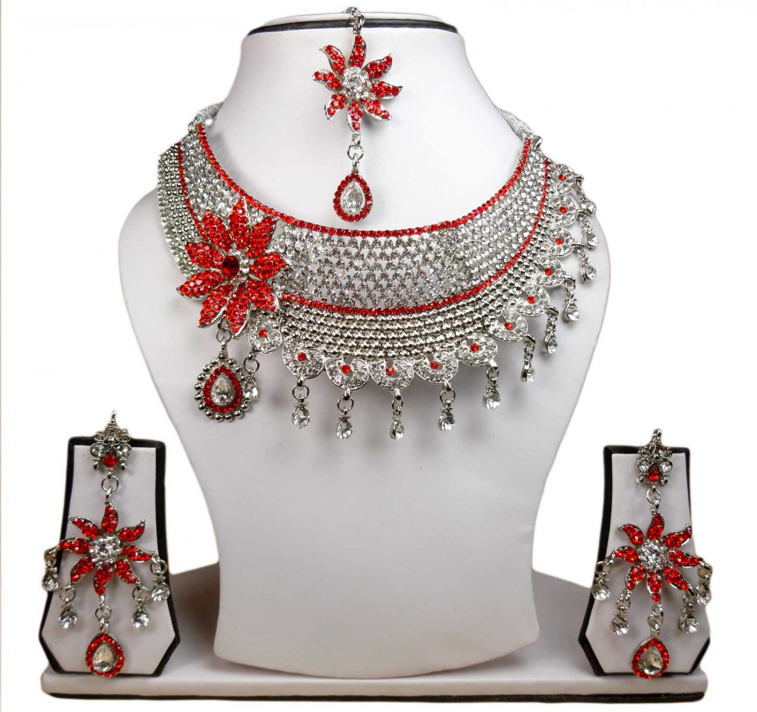 Silver Plated Stunning AD Pearl Jewelry Flower Styled Necklace Matching Earrings Set Maroon Color