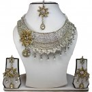 Silver Plated Stunning AD Pearl Jewelry Flower Styled Necklace Matching Earrings Set Gold Color