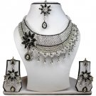 Silver Plated Stunning AD Pearl Jewelry Flower Styled Necklace Matching Earrings Set Black Color