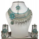 Silver Plated Stunning AD Pearl Jewelry Flower Styled Necklace Matching Earrings Set Turquoise Color