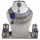 SIlver Plated Stunning AD Pearl Jewelry Flower Styled Necklace Matching Earrings Set Blue Color