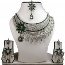 Silver Plated Stunning AD Pearl Jewelry Flower Styled Necklace Matching Earrings Set Green Color