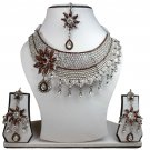 Silver Plated Stunning AD Pearl Jewelry Flower Styled Necklace Matching Earrings Set Coffee Color