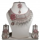 Silver Plated Stunning AD Pearl Jewelry Flower Styled Necklace Matching Earrings Set Pink Color