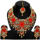 American Diamond Jewelry Flower Inspired Attractive Princess Style Necklace Eaarrings Set Red Color