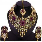 American Diamond Jewelry Flower Inspired Attractive Princess Style Necklace Earrings Set Purple