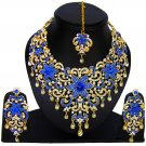 American Diamond Jewelry Flower Inspired Attractive Princess Style Necklace Earrings Set Blue Color