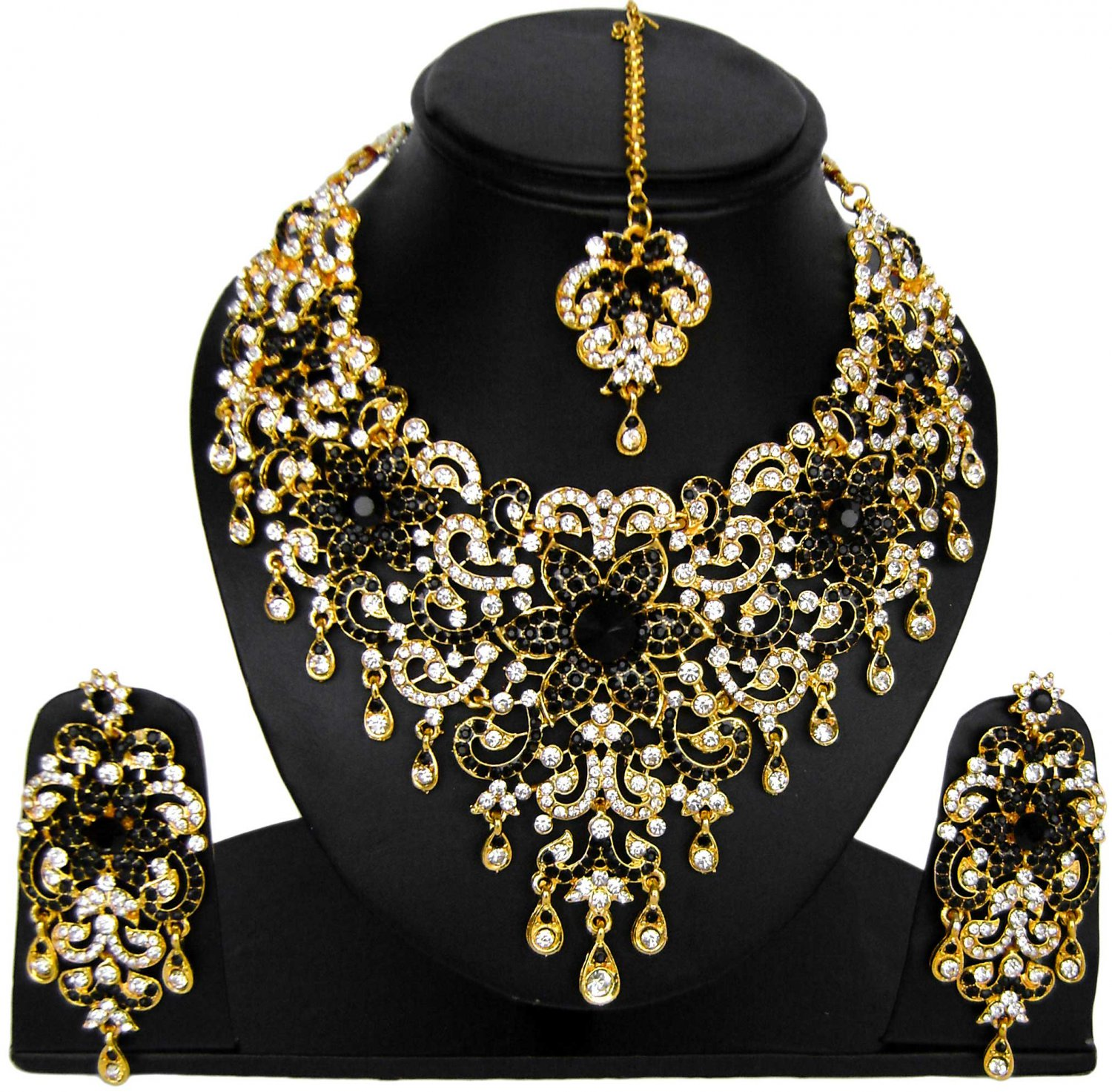 American Diamond Jewelry Flower Inspired Attractive Princess Style Necklace Earrings Set Balck Color