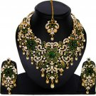 American Diamond Jewelry Flower Inspired Attractive Princess Style Necklace Earrings Set Green Color