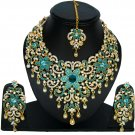American Diamond Jewelry Flower Inspired Attractive Princess Style Necklace Earrings Set Turquoise