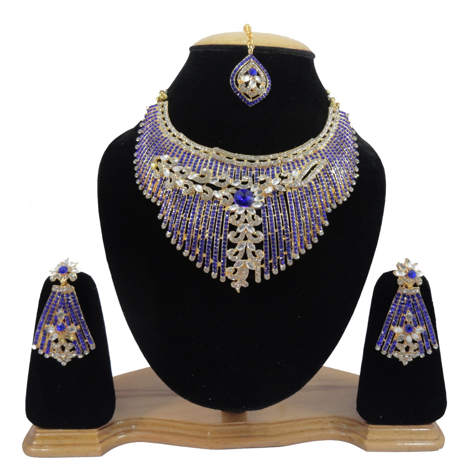 American Diamond Inspired Jewelry Attractive Princess Necklace Earrings and MaangTika Set Blue Color