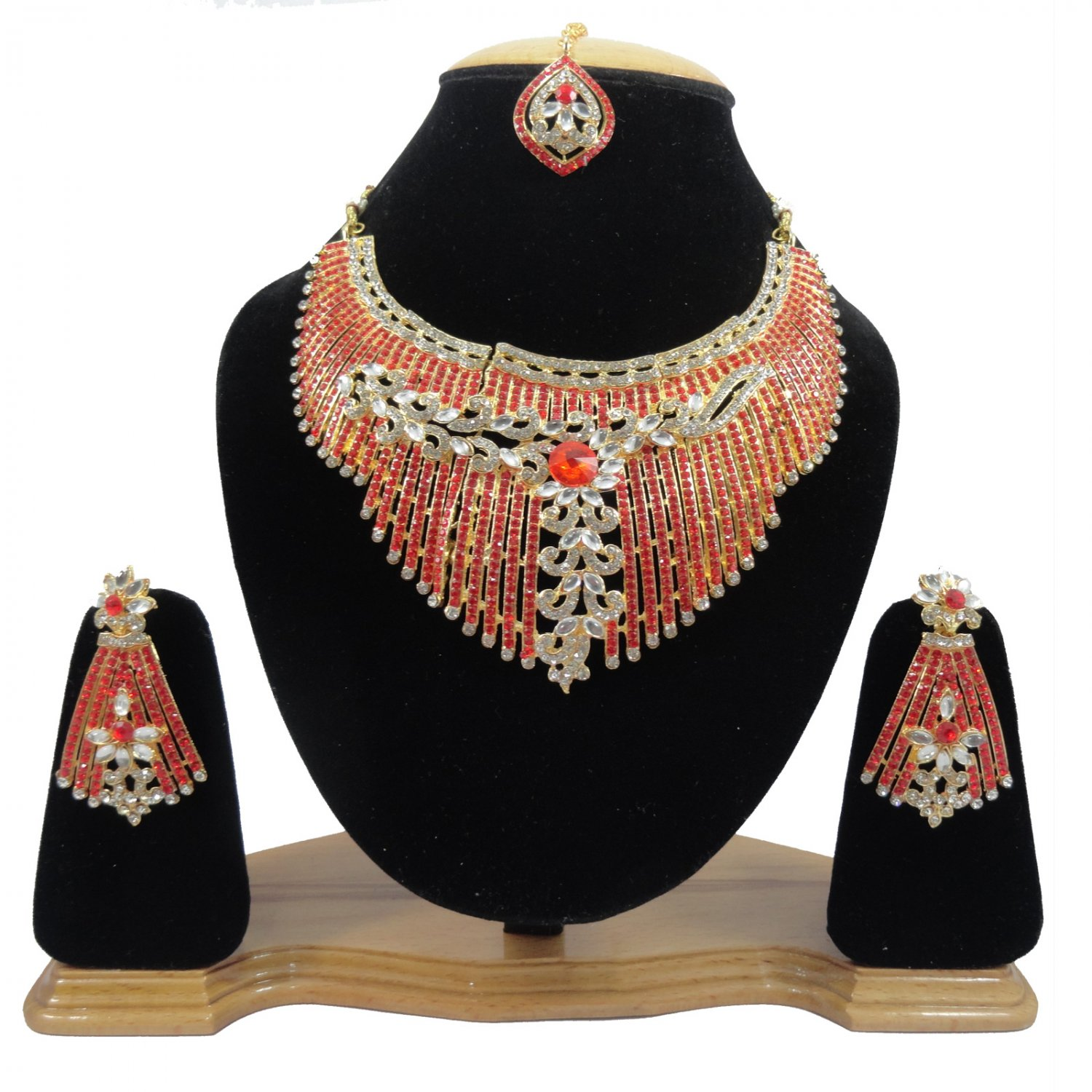 American Diamond Inspired Jewelry Attractive Princess Necklace Earrings and Maangtika Set Red Color