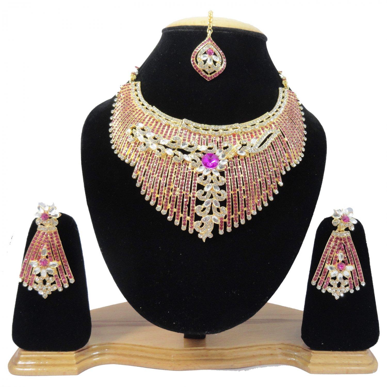 American Diamond Inspired Jewelry Attractive Princess Necklace Earrings and Maangtika Set Magenta