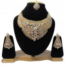 American Diamond Inspired Jewelry Attractive Princess Necklace Earrings and Mangtika Set White Color