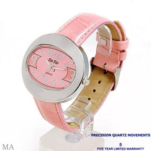 Ladies Silver Tone Watch with Soft Rose Pink Strap  Watch by FEE FEE