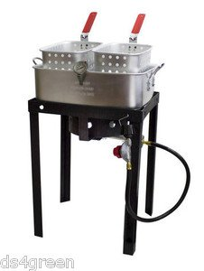 Chard 50 000 btu outdoor tailgate propane double dual 2 for Outdoor fish fryers propane