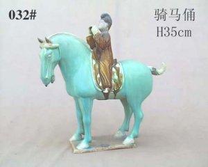 Handmade Tri-colored Pottery Horse Rider