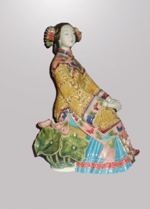 Porcelain Beauty Enjoying the Cool On Lotus Stool