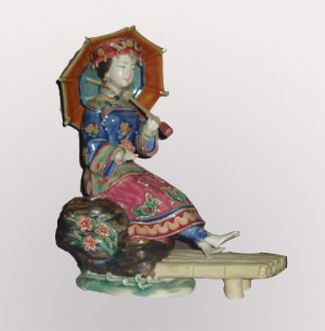 Chinese Style Lady Washing Feet Statue