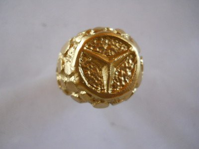 14k nugget mercedes logo ring yellow gold solid new for 14k gold mercedes benz pendant