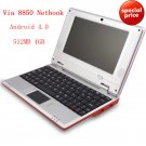 "mini Netbook 7"" VIA8850 Android 4.0 Wifi 512MB 4GB"