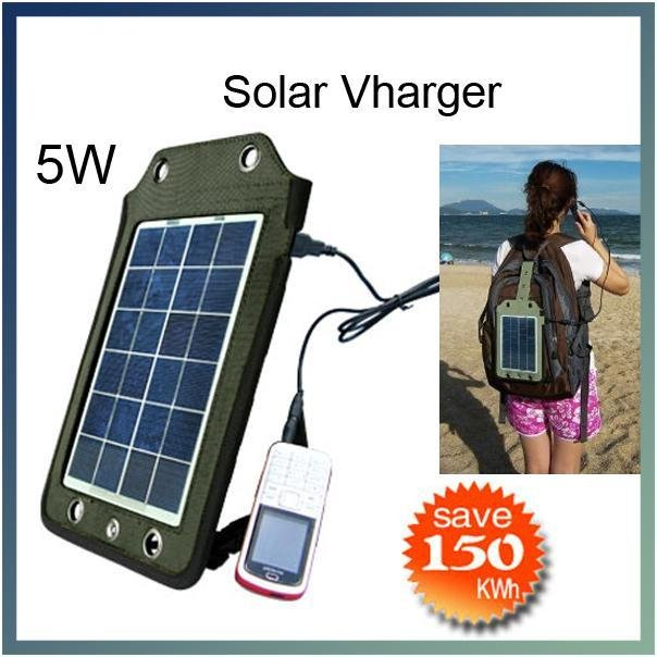 5W USB outdoor traveling portable solar panel powered charger hang in backpack mobile phone/MP3/PAD