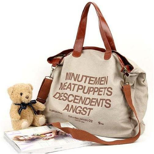letter Casual Canvas Bag Women's Messenger Bags Handbag