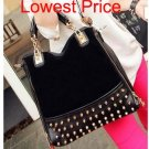 lady bag rivet package stitching flannel female bag shoulder bag