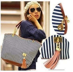 women's handbag stripe canvas bag chain tassel handbag fashion bag