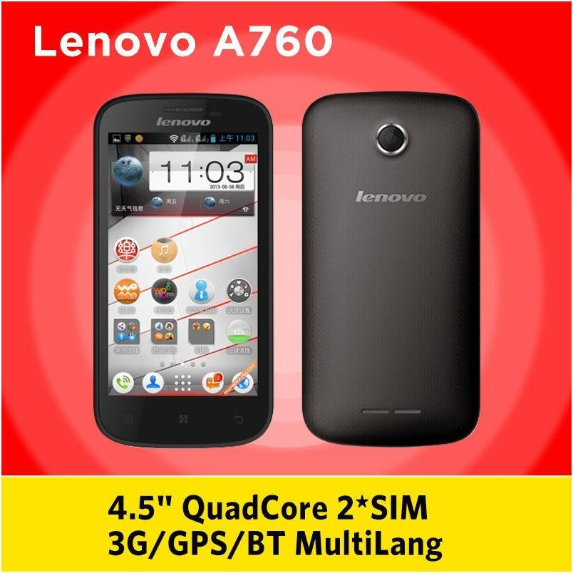 smartphone Lenovo A760 Quad Core 1.2GHz 4.5 inch IPS Screen 1GB RAM 4GB Dual SIM 5.0MP