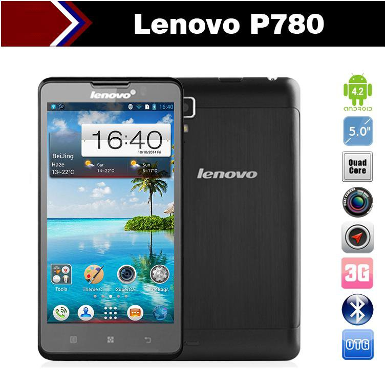 "Lenovo P780 5"" Quad Core android cell phones MTK6589 HD Gorilla Glass 1GB RAM 8.0MP 4000mAh battery"
